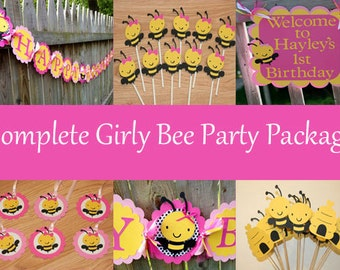 Girly Bee Complete Birthday Party Package, Bumble Bee Birthday Party, Mommy to Bee, Party Package, Bee Package, Bee Birthday Package, Bee