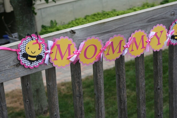 Pink And Yellow Bumble Bee Mommy To Bee Baby Shower Banner