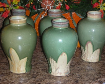 5 Five 1980'S Decorators Cream and Sage / Green Hand Made Vases