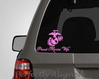 Proud Marine WIfe -  Spouse Car Decal - Marine wife - Marine decal - army decal - macbook decal - laptop decal