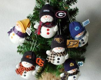 Pro or College Team Fabric Snowman Ornament
