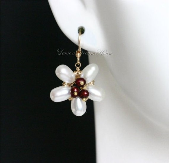 June Birthstone Earrings, Pearl Flower, Freshwater Pearl, White Rice, Cranberry Potato, Gold-filled Wire and Earwires. Nature Inspried. E042
