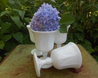 Set of 4 Vintage Milk Glass Wine Goblet's