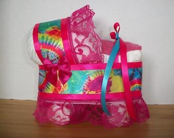 pink tye dye girl diaper bassinet baby shower gift table decoration centerpiece