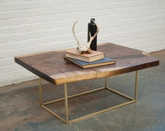 Coffee Table - Live Egde Walnut Slab w/Brass Base by Dylan Design Co.