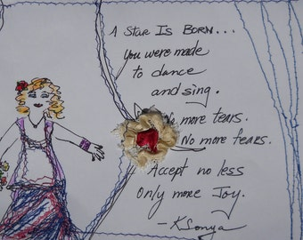 A Star Is Born, Inspirational Card, Poetry Card, Sewn Picture Card, Gift Card, Womens Art, Kathleen Leasure, FromGlenToGlen