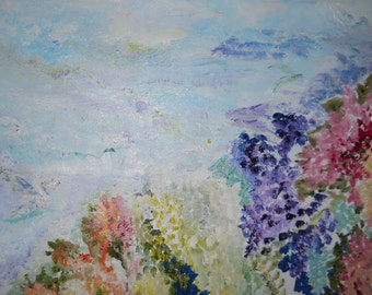 Dreamscape Oil, Ocean Floral Oil, Impressionism Ocean, Original Ocean Painting,Floral Ocean Art, Kathleen Leasure, Fromglentoglen