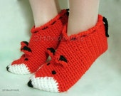 Unisex Adult Chunky Crochet Fox Slippers Women Men Children Teens Funny Silly Winter Merino Wool Woodland Red Ginger Animals Woodland