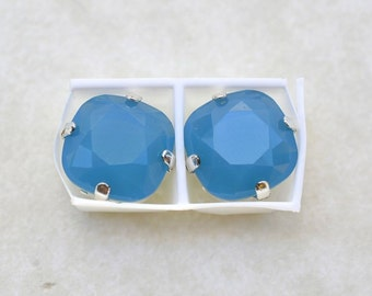 2 Swarovski 10mm Caribbean Blue Opal Rounded Corner Squares in Silver Plated sew on settings-Silver four hole slider settings