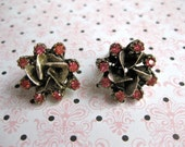 Etched Metal Earrings Bright Coral Rhinestone Shiny Design Clip on Vintage Fashion