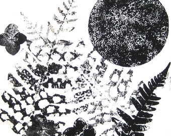 Black White Monoprint Monotype Original Art Hand Pulled One of a Kind Garden Moon Black White