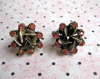 Etched Metal Earrings Bright Coral Rhinestone Shiny Design Clip on Vintage Fashion Trend Womans Gift Idea