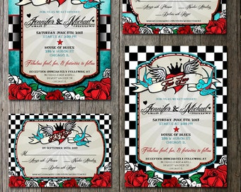 Rockabilly Wedding Invitations,rsvp, registry card  - Digital Printable Files-Retro Checkered Distressed Blue Vintage Elements