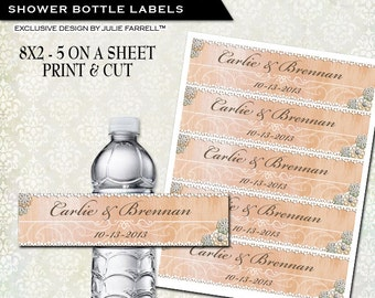 Water bottle labels DIY Print and Cut   personalized wedding favor Bridal  shower favor Rustic PeachDiy water labels   Etsy. Diy Wedding Water Bottle Labels. Home Design Ideas