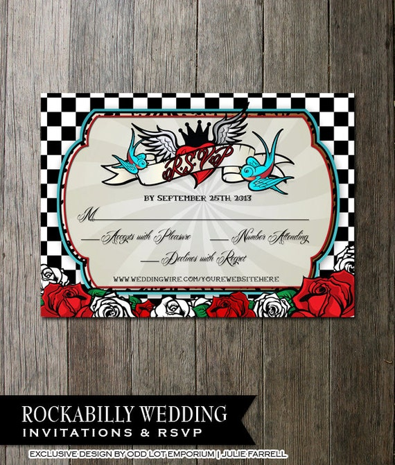 Nice Rockabilly Wedding Invitations And Rsvp | Offbeat Wedding Invite | Tattoo  Style | Roses And Checkerboard | Wedding Printable DIY Invitation
