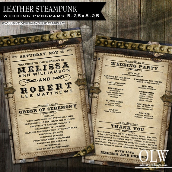 Steampunk Wedding Program | Leather and gears wedding program | Offbeat wedding | Digital printable