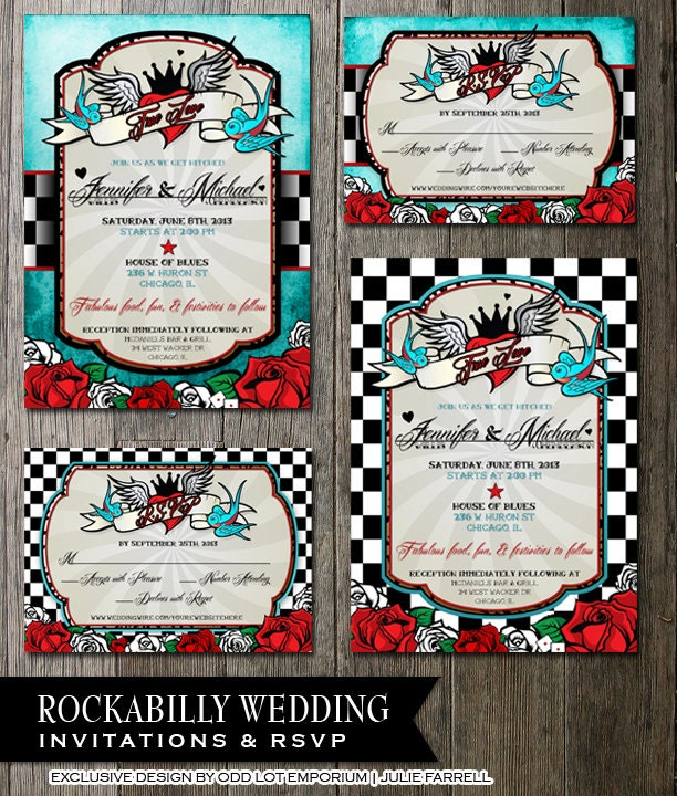 Rockabilly Wedding Invitationsrsvp Registry Card By OddLotPaperie