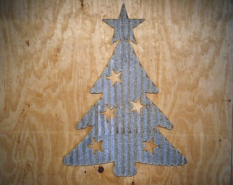 FREE SHIPPING Vintage Style Corrugated Retro Christmas Tree Metal Sign