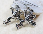 Dangle Drop Earrings - Silver Pewter Metal Frog Charms - Surgical Steel Ear Hooks - Optional Crystal Link (H-77)