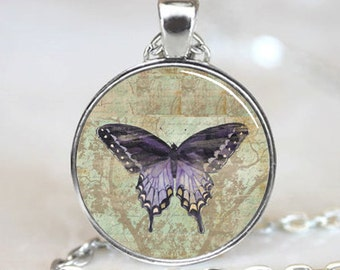 Vintage Purple Butterfly Handcrafted  Necklace  Pendant (PD0152)
