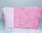 Zipper Pouch - Cosmetic Bag - Shabby Chic - Pink Swirl