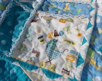 Baby Boy Rag Quilt Blanket - Blue - White - Flannel - Chevron - Stars - Toys - Animals