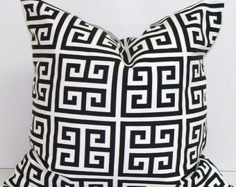 BLACK PILLOW.22x22 inch Decorative Pillow Cover.Housewares.Black Greek Key Pillow.Black White.Greek Key.Maze.Cushion.Black Pillow Cover.cm