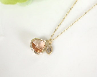 Initial necklace, Leaf initial, Champagne pendant necklace, wedding, bridesmaid necklace, Peach necklace, Initial, B0060-G