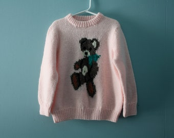 Girl's vintage handknit pink teddy bear sweater / cute novelty sweater, knit jumper /  Size 6-8