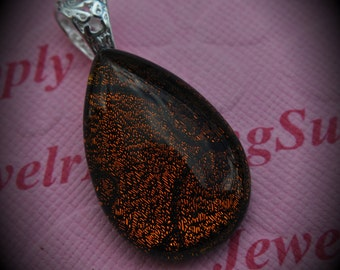 Round Silver Plated Dichroic Fused Glass Teardrop Pendant 8060