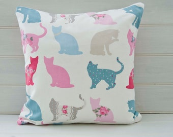 Cat Cushion Cover - Cat Lover Design Pink Blue 16 ins  - UK Shop
