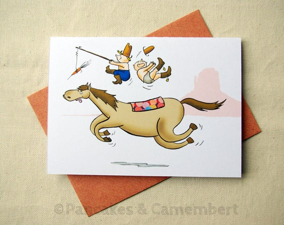Greeting card - Funny horse and children