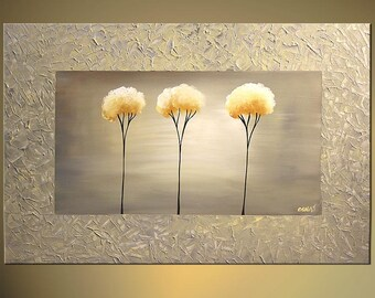 "Original Abstract Contemporary Blooming Tree Painting Silver Acrylic Painting Heavy Palette Knife Texture by Osnat - Made-To-Order  36""x24"""