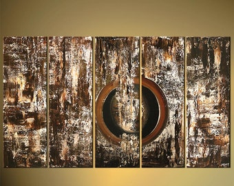 "Brown Abstract Painting, Original Modern Palette Knife Painting on Canvas by Osnat - MADE-TO-ORDER - 60""x36"""