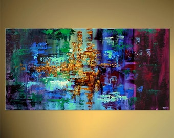 "Colorful Abstract Painting Blue Green Turquoise Modern Palette Knife acrylic Painting Original From Osnat - MADE-TO-ORDER - 48""x24"""