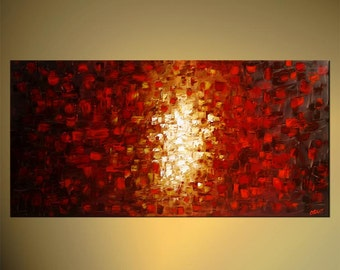 """48"""" x 24"""" Large Acrylic Painting Original Abstract Modern Art Red Ready to Hang Frame Fine Original Art by Osnat - MADE-TO-ORDER"""