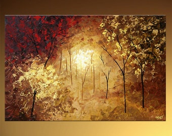 "Landscape Blooming Tree Painting Original Abstract Modern Palette Knife Textured by Osnat - MADE-TO-ORDER - 36""x24"""