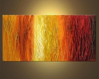 "Abstract Painting Modern 48"" x 24"" Original Painting Red, Orange, Yellow, White Acrylic Painting Original Abstract Art - MADE-TO-ORDER"