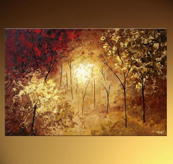 Landscape blooming tree painting original abstract modern for Peinture mural original