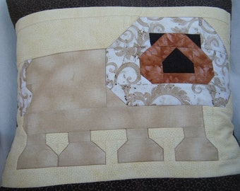 "OOAK Lion Quilted Pillow Cover - 20"" x 20"""
