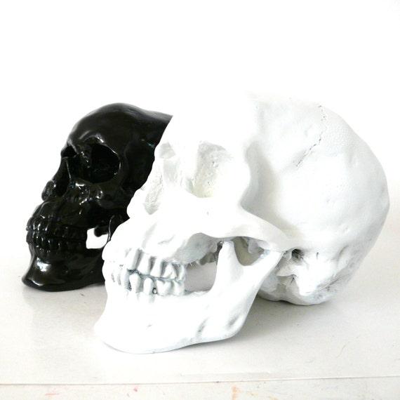 Black and white skull set skull decor modern home by nashpop for Skull home decor