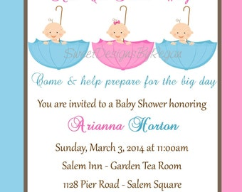 Triplet Baby Shower Invitation - (Digital File)
