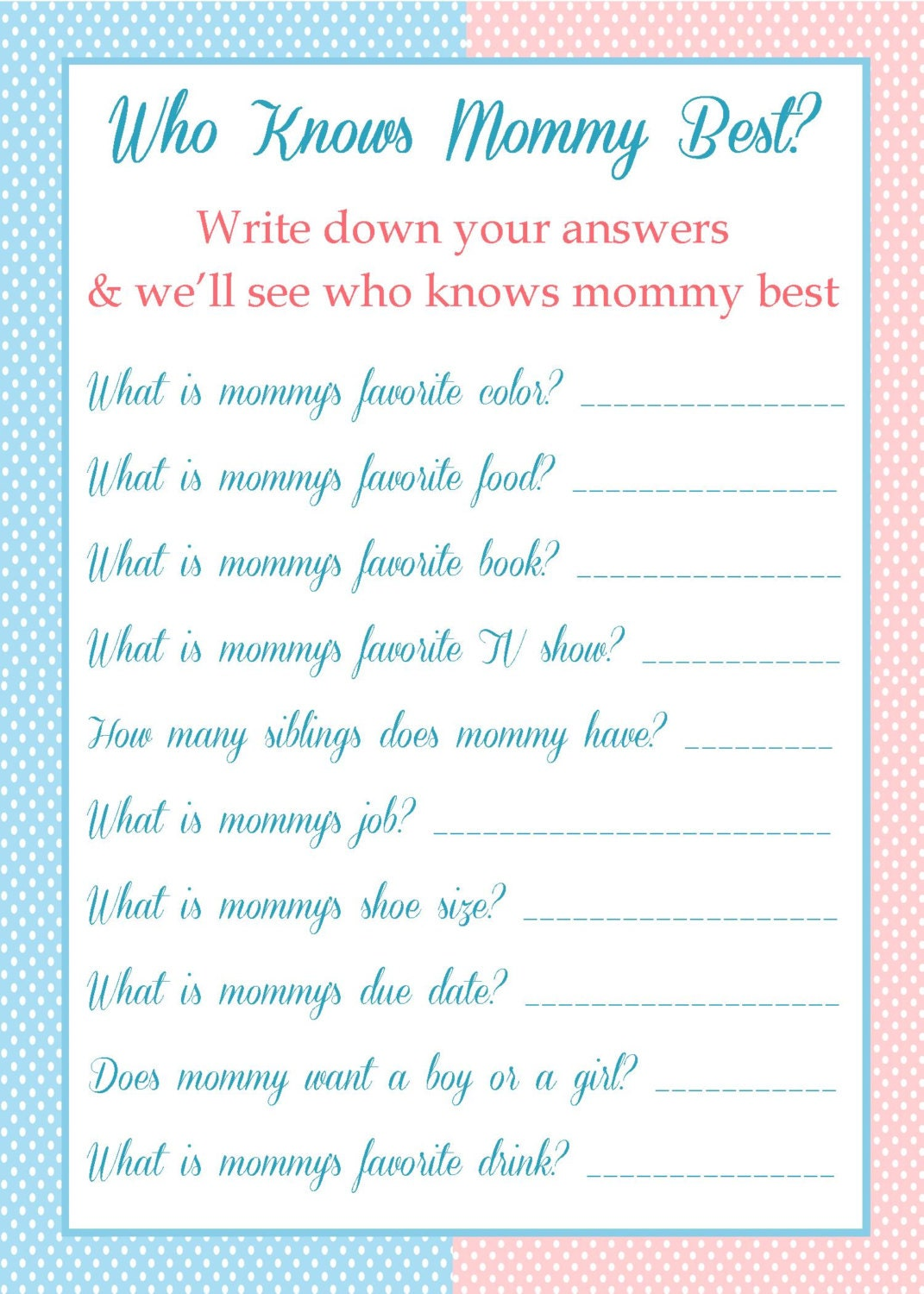 items similar to baby shower game who knows mommy best on etsy