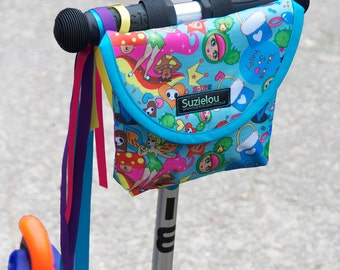 Fairy Dust Print Child's Handlebar Bag, bike bag, scooter bag, by Suzielou textiles, waterproof
