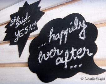 2 Large  Chalkboard Speech Bubbles  -- Reusable Wooden Chalkboards for Wedding Photo Booth, Engagement Photos