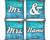 Mr. & Mrs. Pillow Set in Wood Blue Paint
