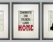 Wizard of Oz 3 Print Set- Vintage Book Page Typography Prints, Dorothy, Wicked Witch, No Place Like Home, Ruby Slippers, Movie Quotes - Papyrusaurus