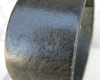 Mens Black Leather Cuff Texture Tough Bracelet with Snap BLK-28-1