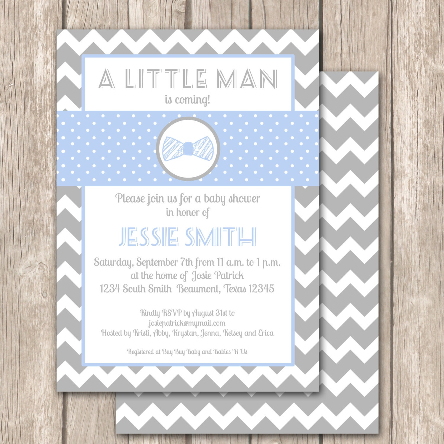 Little Man Bow Tie Chevron Baby Shower Invitation By