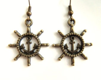 Bronze Anchor Earrings Jewelry Nautical Jewelry Earings Rudder Nautical Earrings Accessories